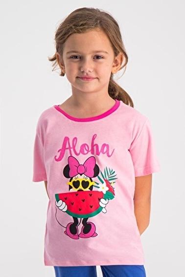 Mickey Mouse Mickey & Minnie Mouse Lisanslı Pembe Kız Çocuk T-Shirt Pembe